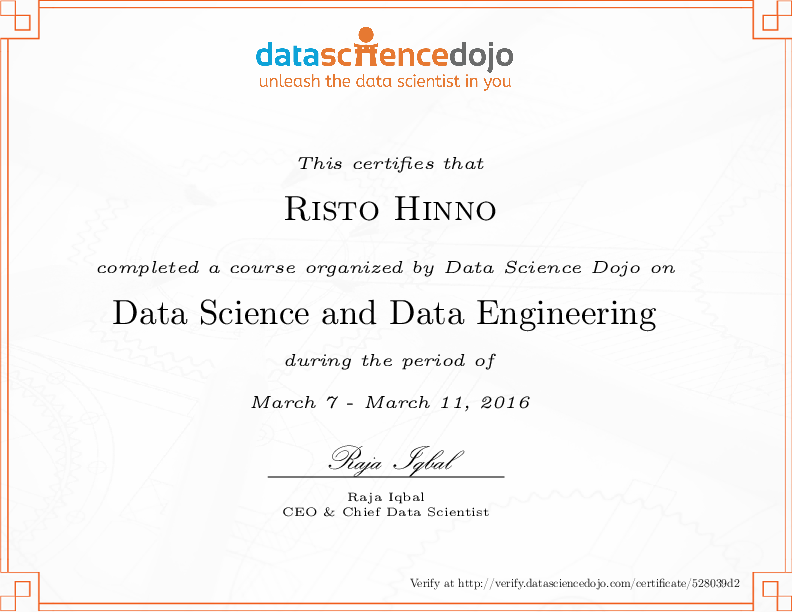 risto hinno's certificate for 5 day data science and data ...
